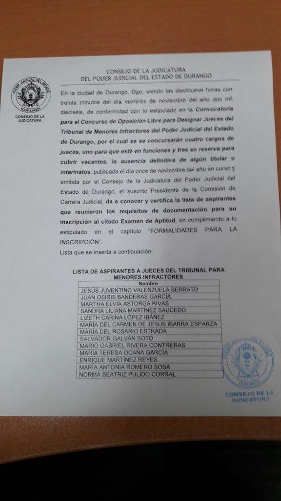 LISTA DE ASPIRANTES A JUECES DEL TRIBUNAL DE MENORES INFRACTORES