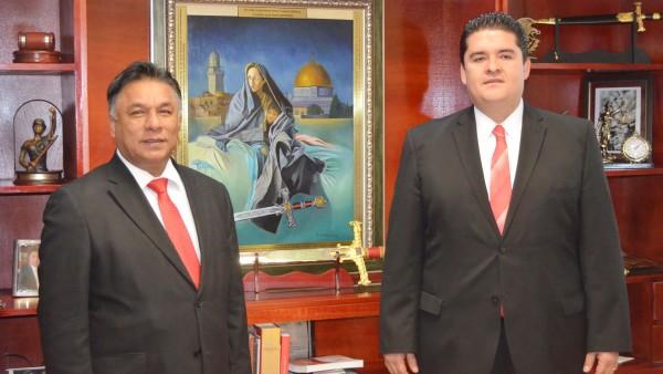 Los presidente del Poder Judicial y de la Gran Comisión del Congreso del Estado.