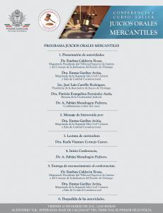 Conferencia y Curso Taller en Juicios Orales Mercantiles